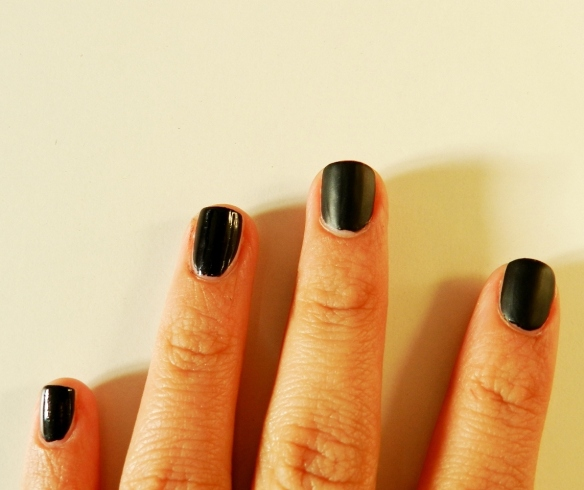 half and half matte black nails