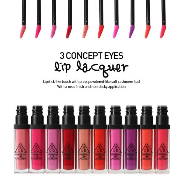 3CE Lip lacquers