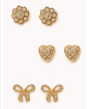 F21 studded pave earrings
